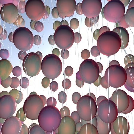 square image: Many balloons in group, 3d render, square image Stock Photo