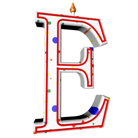 e white: E letter in shape of birthday candle, 3d render, isolated over white, square image