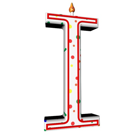 square image: I letter in shape of birthday candle, 3d render, isolated over white, square image Stock Photo