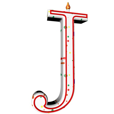 J letter in shape of birthday candle, 3d render, isolated over white, square image