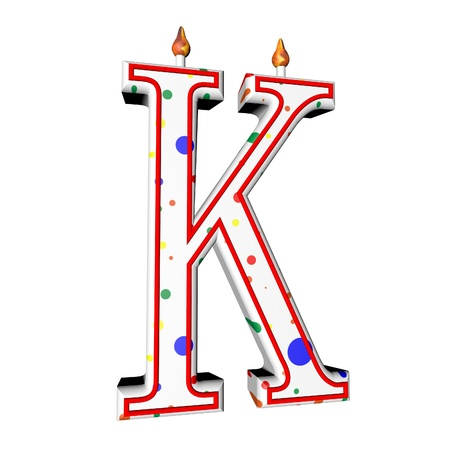 K letter in shape of birthday candle, 3d render, isolated over white, square image