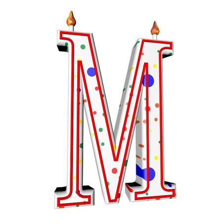 square image: M letter in shape of birthday candle, 3d render, isolated over white, square image