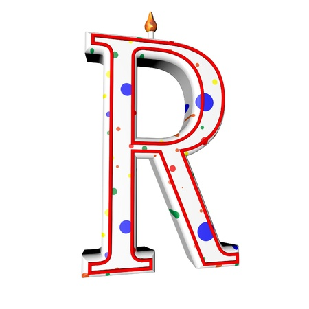 r image: R letter in shape of birthday candle, 3d render, isolated over white, square image