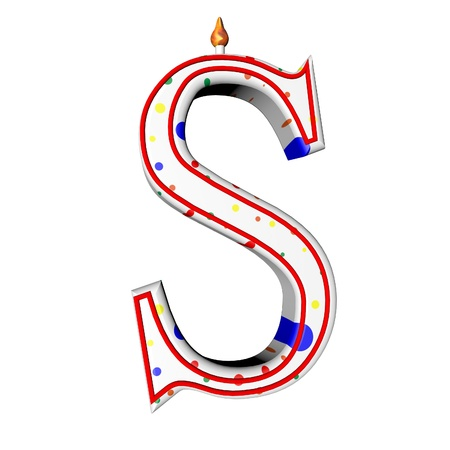 S letter in shape of birthday candle, 3d render, isolated over white, square image photo