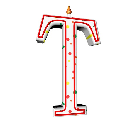 T letter in shape of birthday candle, 3d render, isolated over white, square image photo