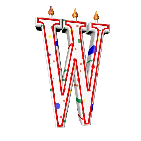 W letter in shape of birthday candle, 3d render, isolated over white, square image photo