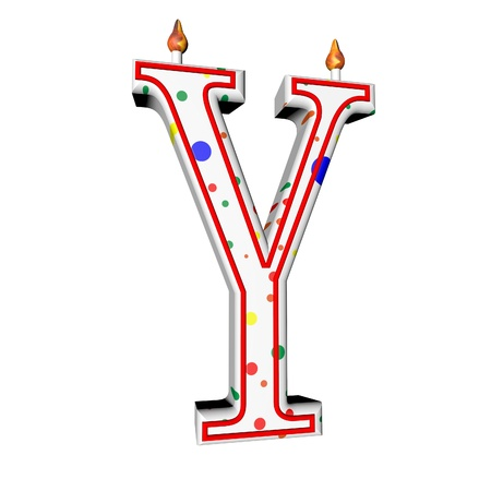 Y letter in shape of birthday candle, 3d render, isolated over white, square image photo