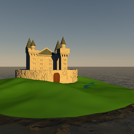 square image: Castle on an island, 3d render, square image Stock Photo