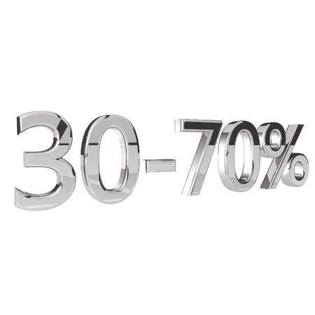 square image: Percentage 30-70, isolated over white background, 3d render, square image Stock Photo
