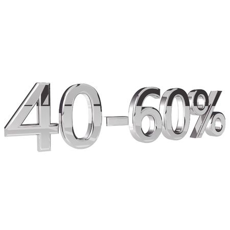 square image: Percentage 40-60, isolated over white background, 3d render, square image