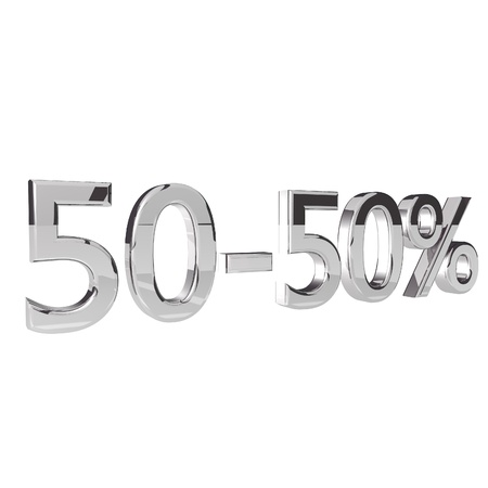 square image: Percentage 50-50, isolated over white background, 3d render, square image
