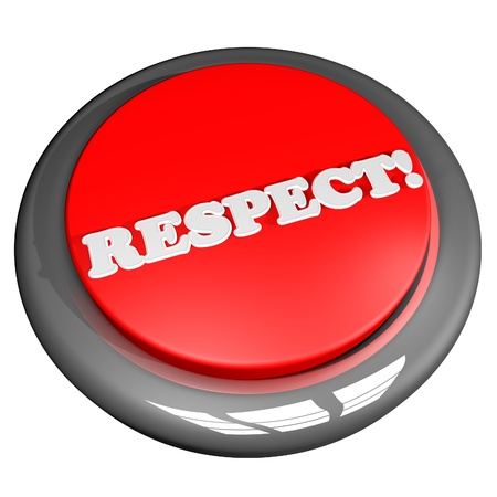 courteous: Respect button, isolated over white, 3d render, square image Stock Photo