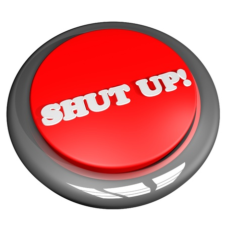 Shut up button, isolated over white, 3d render, square image