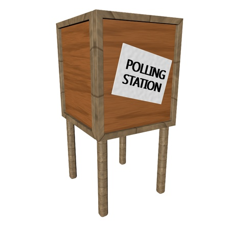 polling: Polling station isolated over white, 3d render, square image Stock Photo