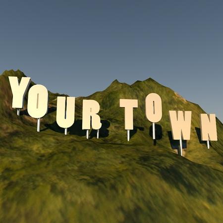 over the hill: Tu Ciudad escribir sobre la colina, estilo hollywood, 3d, imagen cuadrada
