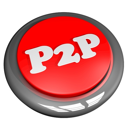 p2p: P2P symbol over button, 3d render, isolated over white, square image Stock Photo