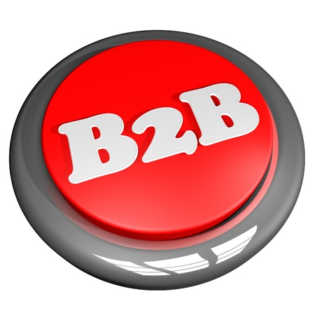 B2B Button, isolated over white, 3d render, square image photo