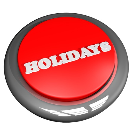 Holidays button, 3d render, isolated over white, square image Stock Photo