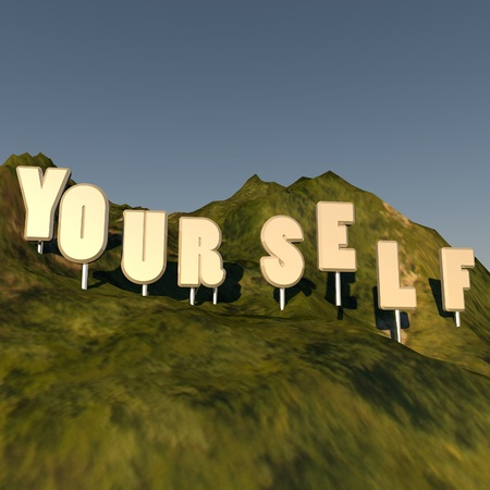 over hill: Yourself writing over hill, Hollywood style, 3d render, square image