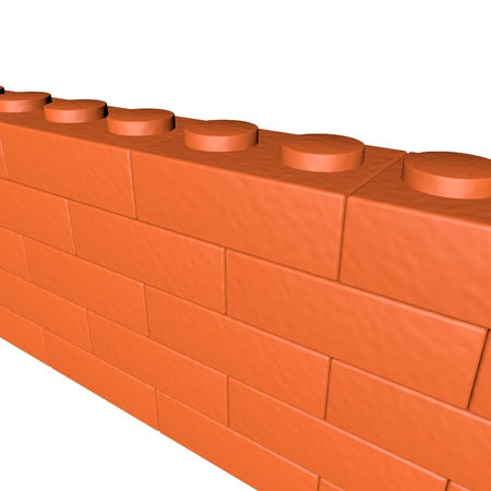 Wall made of bricks for a construction gamel, 3d render, isolated over white, square image