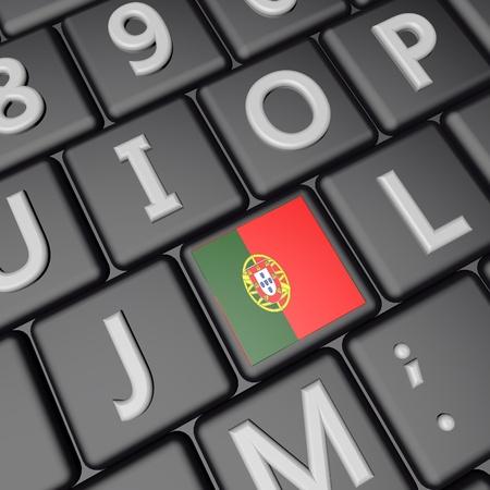 square image: Portugal flag over computer keyboard 3d render square image