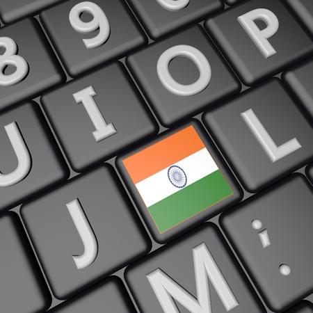 India flag over computer keyboard 3d render square image