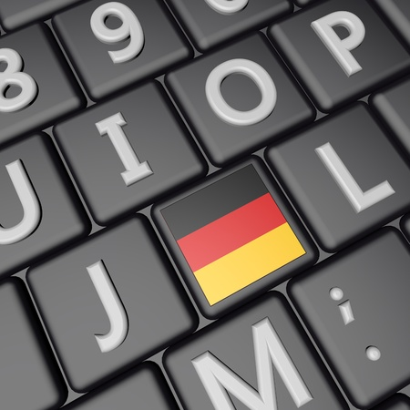 square image: German flag over computer keyboard 3d render square image Stock Photo