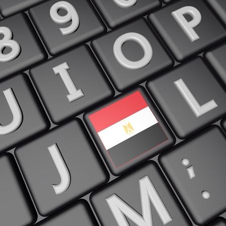 Egypt flag over computer keyboard, 3d render, square image