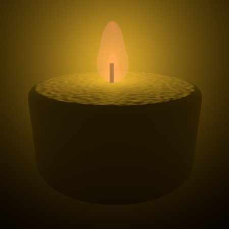 Candle lit in darkness, 3d render, square image Stock Photo