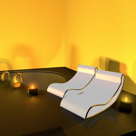 Spa lit by candles, with pool, 3d render, square image