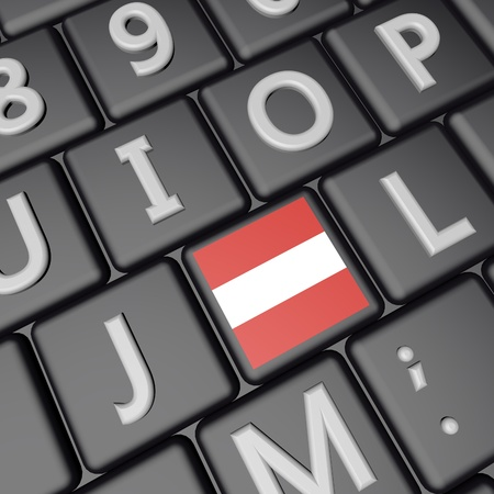 Austria flag over computer keyboard, 3d render, square image Stock Photo
