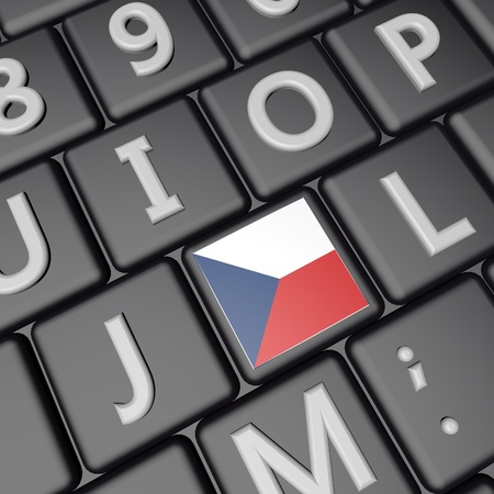 square image: Czech Republic flag over computer keyboard, 3d render, square image