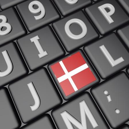 square image: Denmark flag over computer keyboard, 3d render, square image Stock Photo