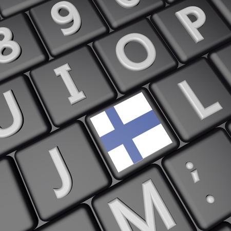 square image: Finland flag over computer keyboard, 3d render, square image
