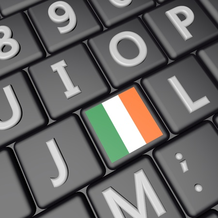 eire: Ireland flag over computer keyboard, 3d render, square image Stock Photo
