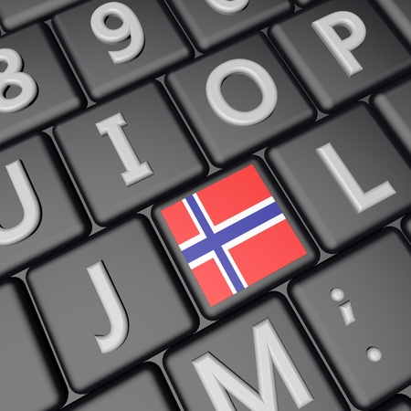 norway flag: Norway flag over computer keyboard, 3d render, square image Stock Photo