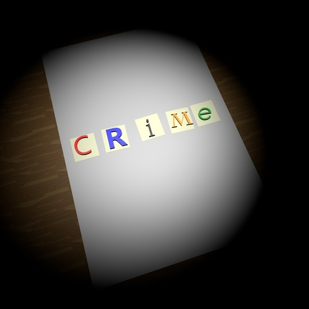 Crime writing over blank paper, kidnapping letters, round light over sheet, 3d render, square image photo