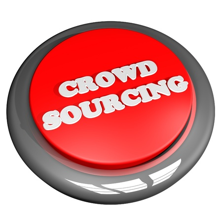 crowdsource: Crowd sourcing button, isolated over white, 3d render, square image