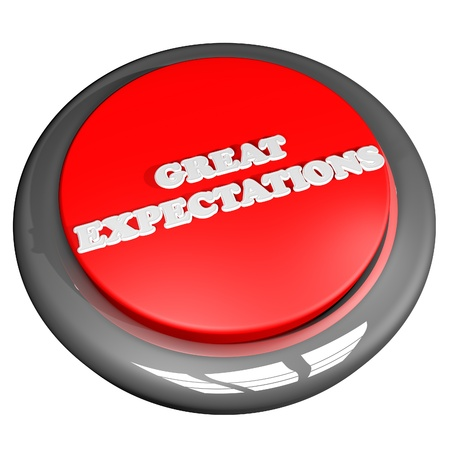 expectations: Great expectations button, isolated over white, square image, 3d render