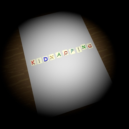 kidnapping: Kidnapping writing over illuminated paper, kidnapping letters, square image, 3d render