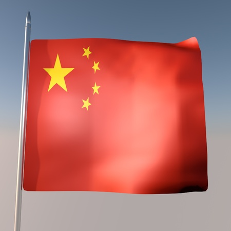 square image: China flag in blue sky, 3d render, square image