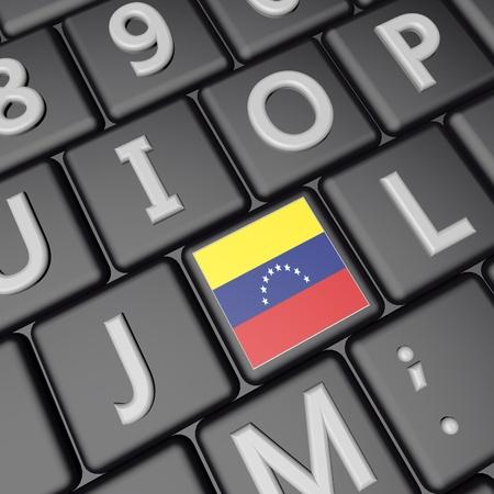 venezuela flag: Bandera de Venezuela sobre la tecla en el teclado, 3d, imagen cuadrada