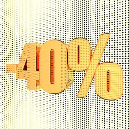 square image: Discount percentage in shiny illuminated gold, 3d render, square image