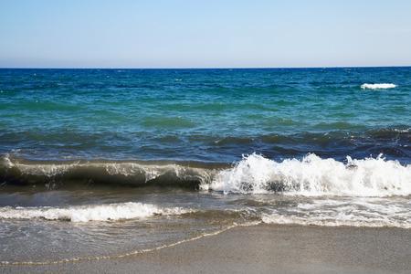 raging: Raging sea coming to beach, horizontal image