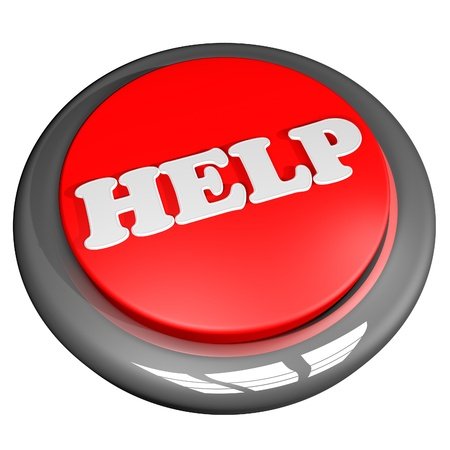 help button: Help button, isolated over white, 3d render, square image Stock Photo