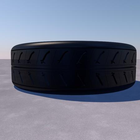 tyre tread: Tire over asphalt, blue sky, 3d render, square image