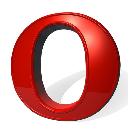 Letter O in red over white background, with shadow, 3d render