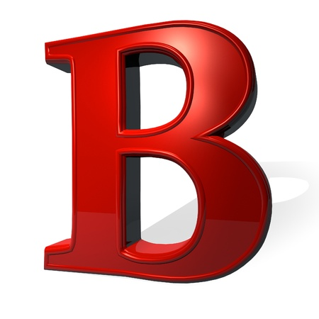 B: Letter B  in red over white background, with shadow, 3d render Stock Photo