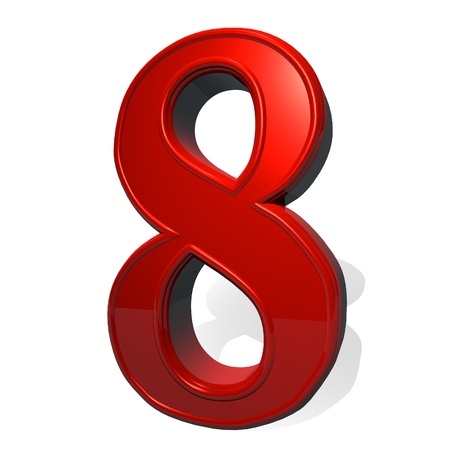 number icons: Number 7 in red reflecting material, isolated over white, with shadow, 3d render, square image