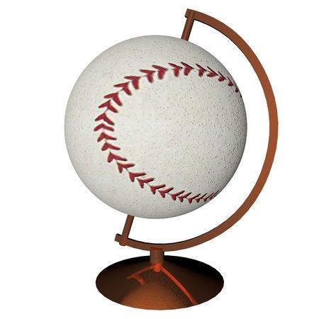 square image: Baseball globe isolated over white background, 3d render, square image
